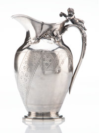 A Gorham Mfg. Co. Silver Presentation Pitcher with Figural Handle, Providence, Rhode Island, 1872 Marks: (lion-anc