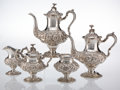 Silver & Vertu, A Five-Piece Stieff Silver Repoussé Coffee and Tea Service, Baltimore, Maryland, 1930, 1939. Marks to tea pot: STIEFF, STE... (Total: 5 Items)