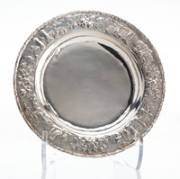 An S. Kirk & Son Silver Repoussé Landscape Charger, Baltimore, Maryland, circa 1920 Marks: S. KIRK & SON...