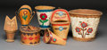 American Indian Art:Wood Sculpture, Seven Great Lakes Birchbark Vessels... (Total: 7 Items)