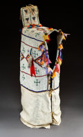 American Indian Art:Beadwork and Quillwork, A Sioux Beaded Hide Baby Carrier...
