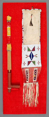 A Sioux Quilled Wood Pipe with Tobacco Bag