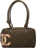 Luxury Accessories:Bags, Chanel Olive Quilted Calfskin Leather & Python Cambon Lign...