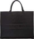 """Luxury Accessories:Bags, Christian Dior Black Oblique Calfskin Leather Book Tote Bag. Condition: 2. 16.5"""" Width x 13.5"""" Height x 7"""" Depth. ..."""