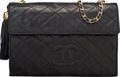 """Luxury Accessories:Bags, Chanel Black Quilted Lambskin Leather Tassel Shoulder Bag. Condition: 3. 10.5"""" Width x 7"""" Height x 1"""" Depth. ..."""