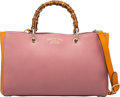 "Luxury Accessories:Bags, Gucci Pink & Orange Bamboo Top Handle Shopper Bag . Condition: 2. 13"" Width x 8.5"" Height x 6"" Depth . ..."