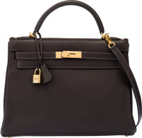 """Hermès 32cm Ebene Clemence Leather Retourne Kelly Bag with Gold Hardware F Square, 2002 Condition: 2 12.5"""" W..."""