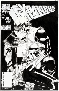 Michael Golden Excalibur #70 Cover Nightcrawler and Cerise Original Art (Marvel, 1993)