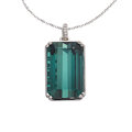 Estate Jewelry:Pendants and Lockets, Tourmaline, Diamond, White Gold Pendant-Necklace. ...