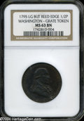 1795 1/2P Washington Grate Halfpenny, Large Buttons, Reeded Edge MS63 Brown NGC. ...(PCGS# 746)