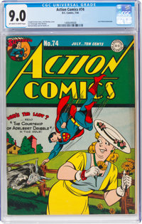 Action Comics #74 (DC, 1944) CGC VF/NM 9.0 Off-white to white pages