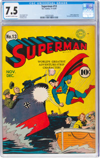 Superman #13 (DC, 1941) CGC VF- 7.5 Off-white to white pages