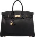 Luxury Accessories:Bags, Hermès 35cm Black Calf Box Leather Birkin Bag with Gold H...
