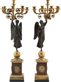 A Pair of French Empire-Style Rouge Marble, Gilt and Patinated Bronze Six-Light Winged Victory