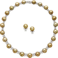 South Sea Cultured Pearl, Diamond, Platinum, White Gold Jewelry Suite ... (Total: 2 Items)