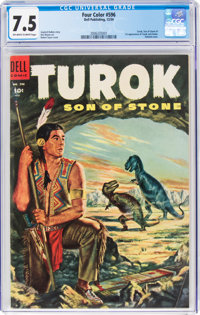 Four Color #596 Turok (Dell, 1954) CGC VF- 7.5 Off-white to white pages