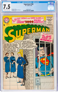 Superman #108 (DC, 1956) CGC VF- 7.5 Off-white to white pages