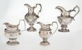 Silver & Vertu, A Group of Four American Coin Silver Cream Pitchers, mid-19th century. Marks to tallest: BALL, BLACK & CO, NEW YORK, W, WF... (Total: 4 Items)