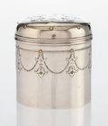 Silver & Vertu, A Tiffany & Co. Aesthetic Movement Enameled Silver and Mixed Metal Vanity Jar, New York , 1885. Marks: TIFFANY & CO, 7970,...