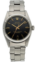 Timepieces:Wristwatch, Rolex, Ref. 6581 Oyster Perpetual, Rare Black Gloss Gilt Dial, Stainless Steel, Circa 1954. ...
