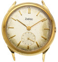 Timepieces:Wristwatch, Zodiac, 14k Gold Vintage Wristwatch, circa 1950. ...