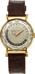 Timepieces:Wristwatch, Agassiz, Extremely Rare and Preserved World Time, 14k Yellow Gold, Hooded Lugs, Circa 1940's. ...