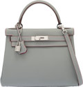 Luxury Accessories:Bags, Hermès Special Order Horseshoe 28cm Gris Mouette & Rose Extreme Veau Clemence Leather Retourne Kelly Bag with Brushed Palladiu...