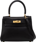 """Luxury Accessories:Bags, Hermès 20cm Black Swift Leather Retourne Kelly Bag with Gold Hardware. Condition: 3. 8"""" Width x 6"""" Height x 3"""" Depth. ..."""
