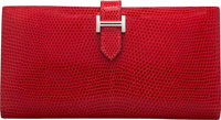 "Hermès Rouge Casaque Lizard Bearn Wallet with Palladium Hardware K Square, 2007 Condition: 2 7"" Width x 3.5&..."