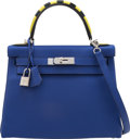 "Luxury Accessories:Bags, Hermès Limited Edition 28cm Blue Electric Togo Leather ""Au Trot"" Retourne Kelly Bag with Palladium Hardware. A, 2017. ..."