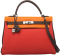 Luxury Accessories:Bags, Hermès Limited Edition 32cm Rouge Garance, Orange H & Havane Togo Leather Retourne Kelly Bag with Palladium Hardware. I Sq...
