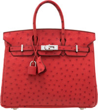"Hermès 25cm Rouge Vif Ostrich Birkin Bag with Palladium Hardware J Square, 2006 Condition: 2 10"" Width x 8&q..."