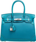 Luxury Accessories:Bags, Hermès Limited Edition 30cm Turquoise Togo & Swift Leather Ghillies Birkin Bag with Palladium Hardware. X, 2016. Condi...