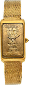 Timepieces:Wristwatch, Corum, Gold Ingot Watch With 18k Gold Band, circa 1960's. ...