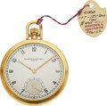 Timepieces:Wristwatch, Vacheron & Constantin, Choice 18k Gold Pocket Watch, Cal. V439, Original Hangtag, Circa 1950. ...