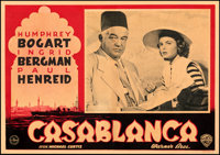 "Casablanca (Warner Bros., 1946). Fine/Very Fine on Linen. First Post-War Release Italian Photobustas (19.25"" X 13.5..."