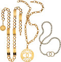 Luxury Accessories:Accessories, Chanel Set of 3: Crystal Belt, Gold Chain Belt, & Gold Pendant Belt. Condition: 3. See Extended Condition Report for Sizes... (Total: 3 )