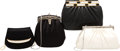Luxury Accessories:Bags, Judith Leiber Set of Four: Black Satin, Black Leather, and White Lizard Clutches. Condition: 4. See Extended Condition... (Total: 4 )