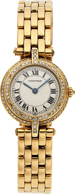 Cartier, Lady's Diamond And Gold Wristwatch