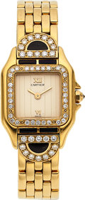 Timepieces:Wristwatch, Cartier, Panthere Diamond & Onyx Set Gold Case. ...