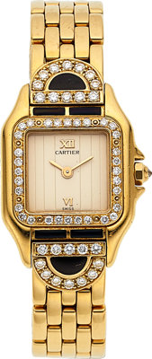 Cartier, Panthere Diamond & Onyx Set Gold Case