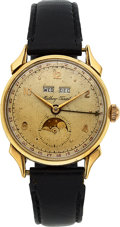 Timepieces:Wristwatch, Mathey Tissot, 14k Gold Full Calendar with Moon Phases, Original Box & Papers, circa 1950. ...