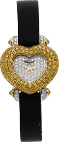 Timepieces:Wristwatch, Chopard, Beautiful Yellow And White Diamond-Set Heart Form, Ref. 13/6638/405, Circa 1995. ...