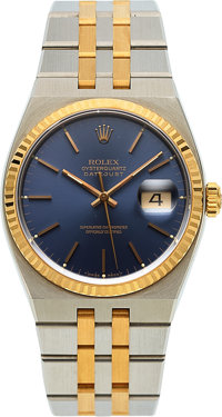 Rolex, Very Fine Oysterquartz Datejust, Blue Dial, Ref. 17013, Steel and Gold, Circa 1991
