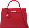 "Luxury Accessories:Bags, Hermès 35cm Rouge Casaque Epsom Leather Sellier Kelly Bag with Gold Hardware. Q Square, 2013. Condition: 3. 14"" Wi..."