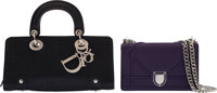 Dior Set of Two: Purple Diorama Bag & Lady Dior East/West Satchel Bag Condition: 2 See Extended C