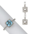 Estate Jewelry:Lots, Aquamarine, Diamond, White Gold Jewelry . ... (Total: 2 Items)