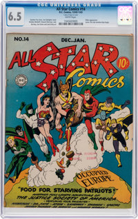 All Star Comics #14 (DC, 1942) CGC FN+ 6.5 White pages