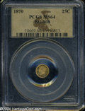 California Fractional Gold: , 1870 25C Liberty Round 25 Cents, BG-808, R.3, MS64 PCGS. ...