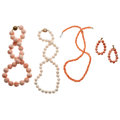 Estate Jewelry:Lots, Coral, Gold, Sterling Silver Jewelry . ... (Total: 4 Items)